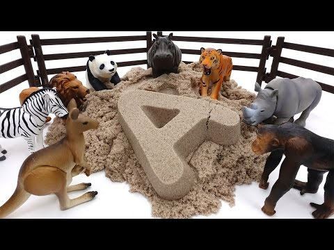 Thumbnail: Animals Sand Bath Time~! Learn Animal Names with Kinetic Sand