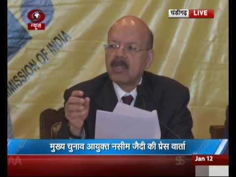 Chief Election Commissioner Nasim Zaidi addresses media in Chandigarh