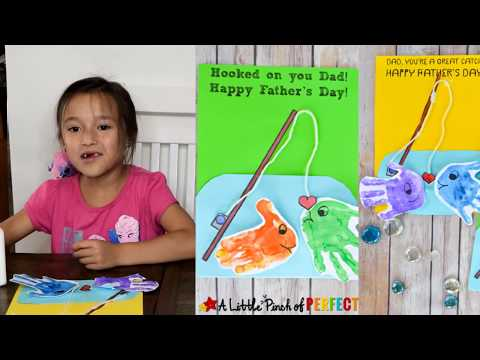 Father's Day Fishing Handprint Card: Kids Craft Tutorial And Free Template