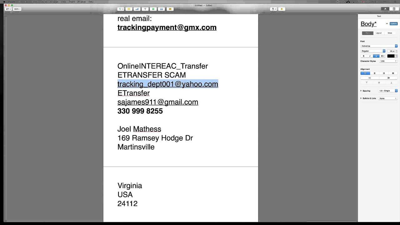 OnlineINTEREAC_Transfer Etransfer Scam tracking_dept001@yahoo.com ...