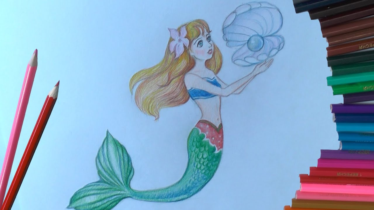 картинки как нарисовать русалку