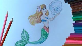 Уроки рисования. Как нарисовать РУСАЛКУ How to draw a mermaid(Русалки - морские девы в разных мифологических системах. У славян название