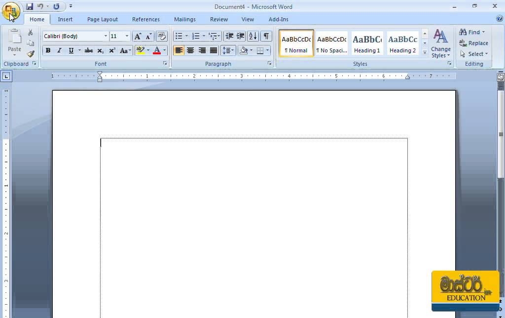Microsoft Word Sinhala Tutorial 01 - Creating a New Document