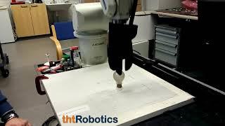 Adaptive Robotic 3 Finger Gripper. Grasping a light bulb
