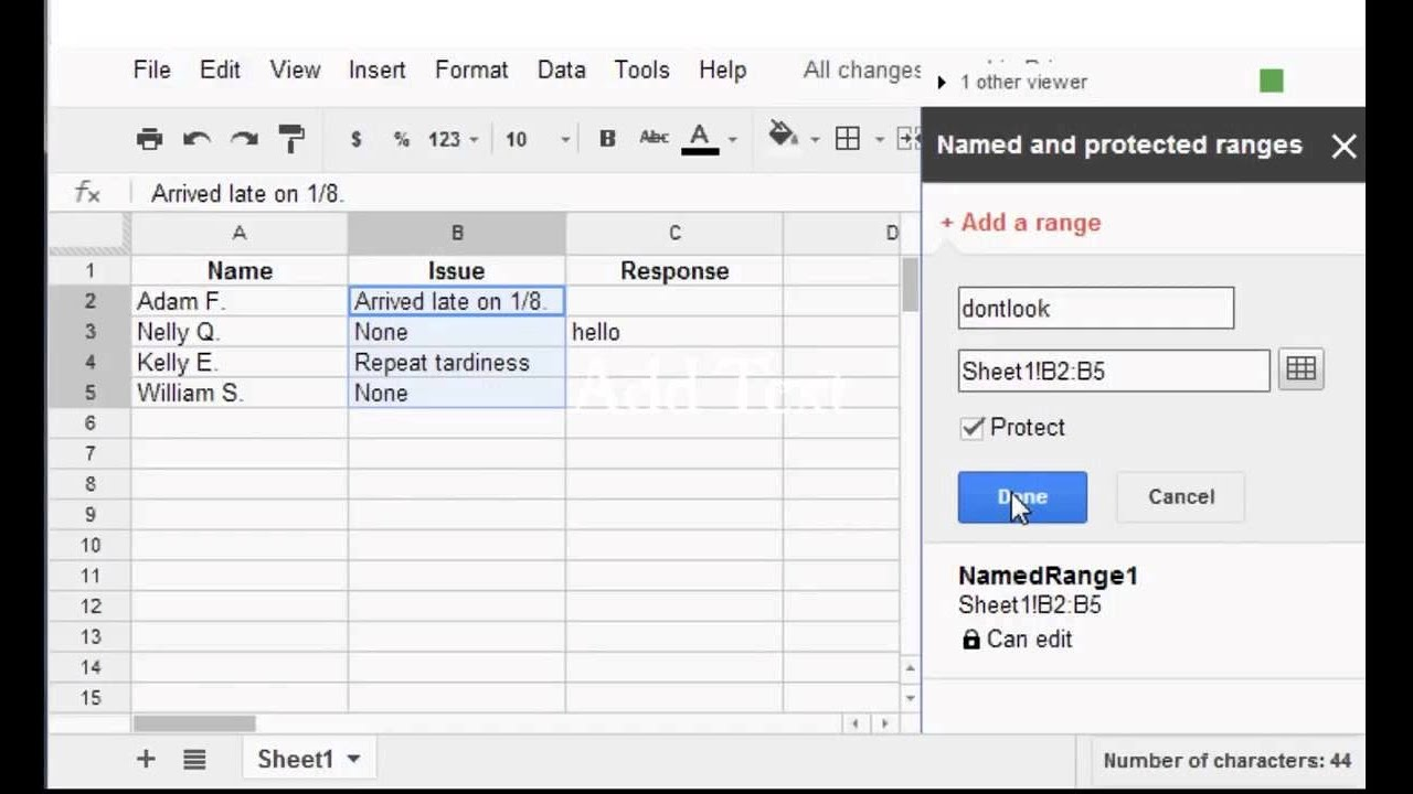 google sheets protect cells youtube