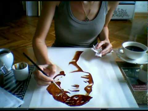 Coffee painting of audrey hepburn youtube for Painting with coffee