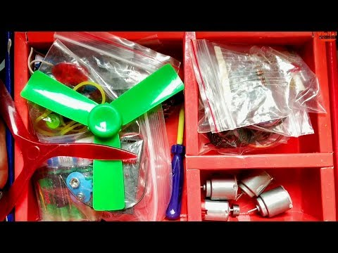 SCIENCE PROJECT kit For College Students - Free Energy, DC Motor,LED, Propeller