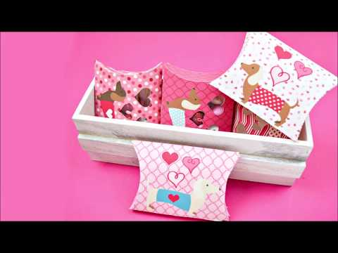DIY Valentine Pillow Box Tutorial - Doxie Candy Box Template For Valentine's Day