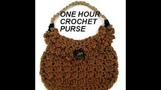 very easy free crochet video one hour crochet bag pattern purse satchel tote shoulderbag