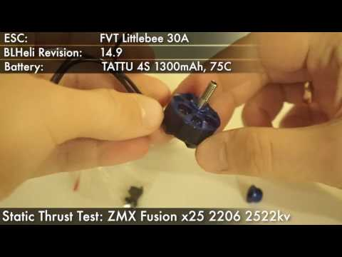 Static Thrust Torque RPM Test ZMX Fusion x25 2206 2522kv