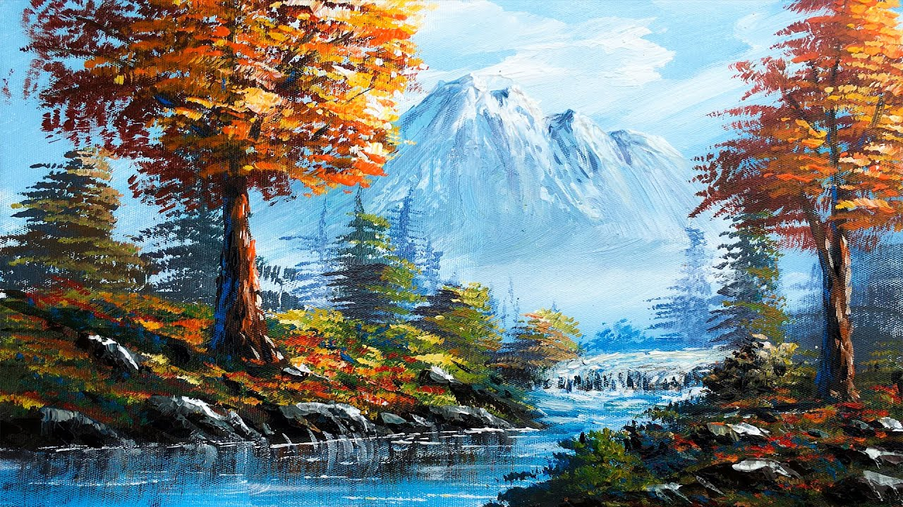 Forest River Painting   Easy Forest River Landscape Painting Tutorial By Nepali Artist - Art Candy