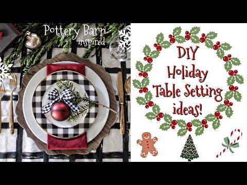 DIY christmas table setting   pottery barn inspired   VLOGMAS   beeisforbeeauty