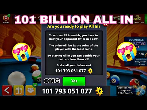 Playing with 101B Coins in monaco ALL IN TABLE - 8 Ball Pool / By Miniclip .