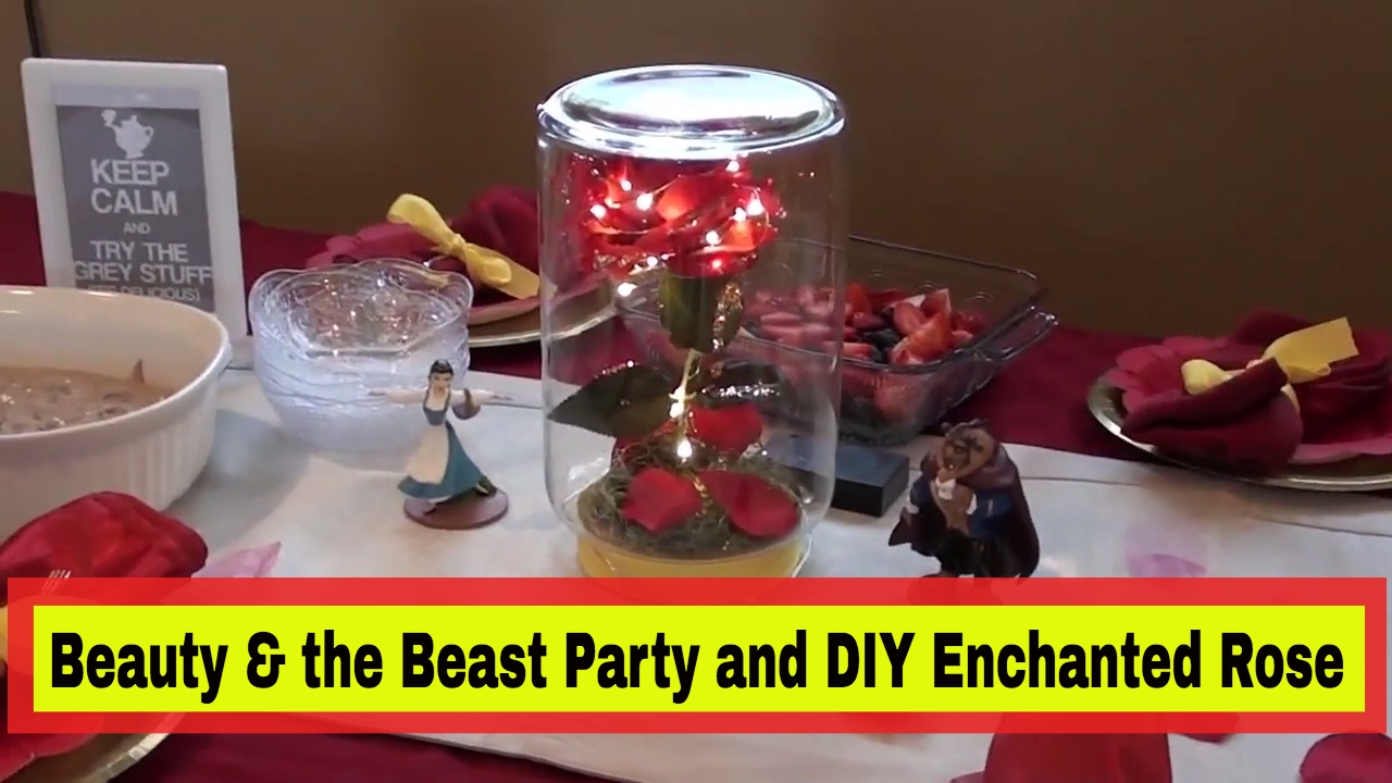 Beauty and the beast premier party diy enchanted rose