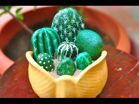 Stone art cacti youtube - Painting rocks for garden what kind of paint ...