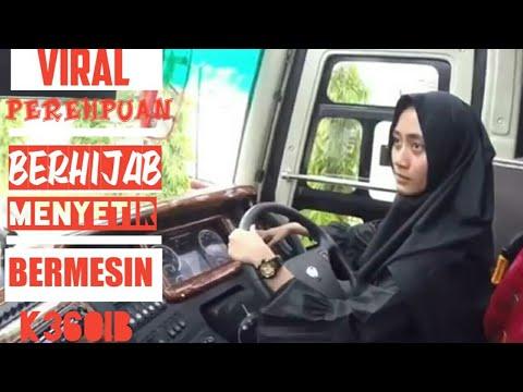 Viral perempuan berhijab membawa bis bermesin scania k360ib