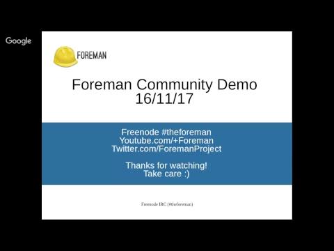 Foreman Community Demo - 16th November