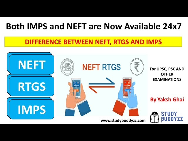 WHAT IS NEFT, RTGS AND IMPS ? | Both IMPS and NEFT are Now Available 24x7 | For UPSC 2020