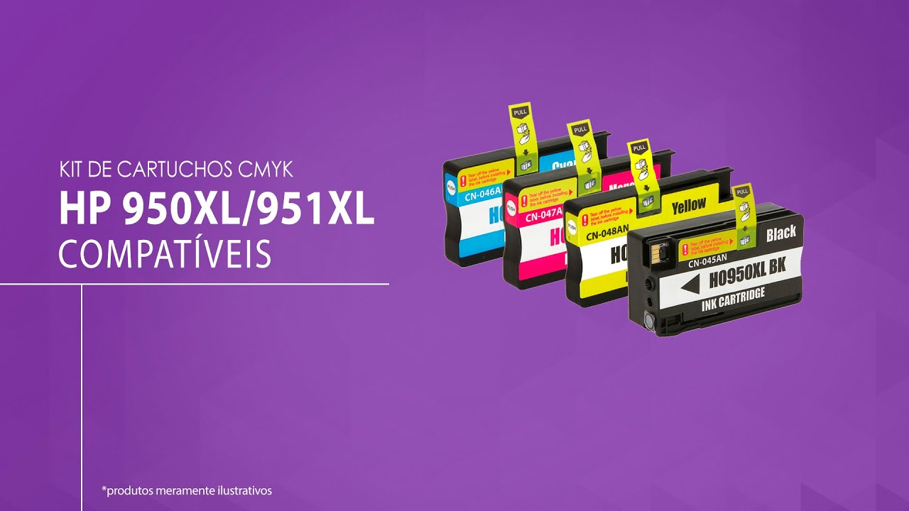 Kit 4 Cartuchos Hp 950xl Hp 951xl Cmyk Compativel Youtube
