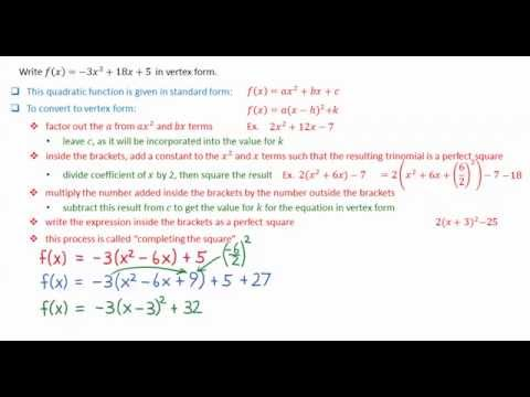 3 5 Convert Quadratic Function From Standard Form To Vertex Form