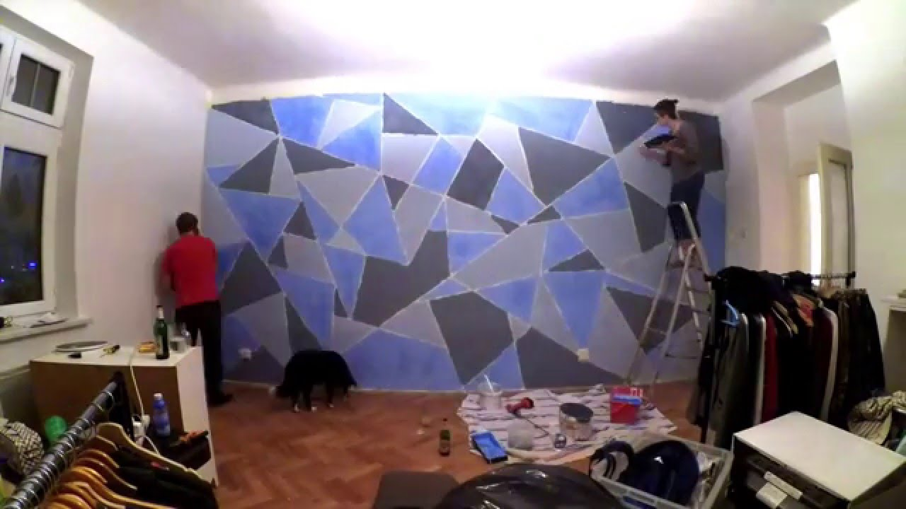 Diy geometric wall painting youtube Painting geometric patterns on walls