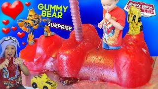 Kid Drinks Jelly from Giant Gummy Bear + Valentines Day Angry Birds Transformers Surprise! (Part 2)