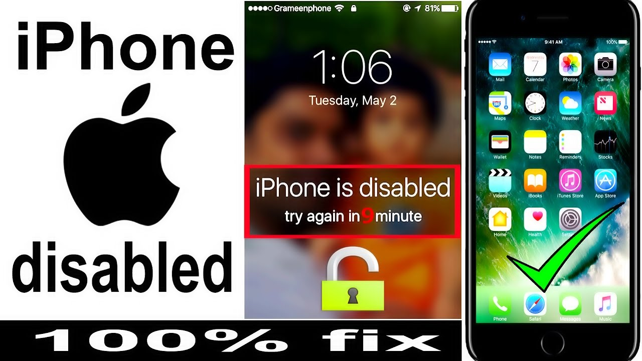 how to lock iphone 5 how to unlock disabled iphone password locked iphone 7 6s 6692