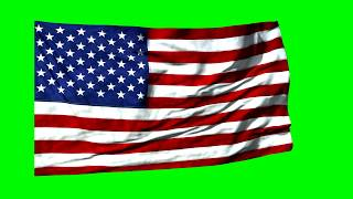 4K American Flag Waving, Stars And Stripes, Green Screen 3D Animation