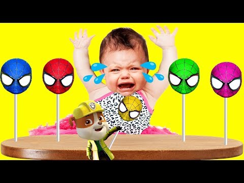 Thumbnail: Bad Baby Crying Spiderman Lollipops Paw Patrol Finger Family Colors Learn