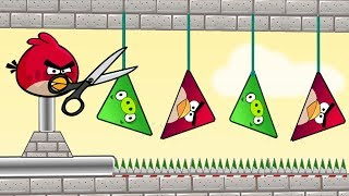 Angry Birds Piggies Out - CUT THE ROPE DOWN THE TRIANGLE PIGS RESCUE TRIANGLE RED BIRDS!