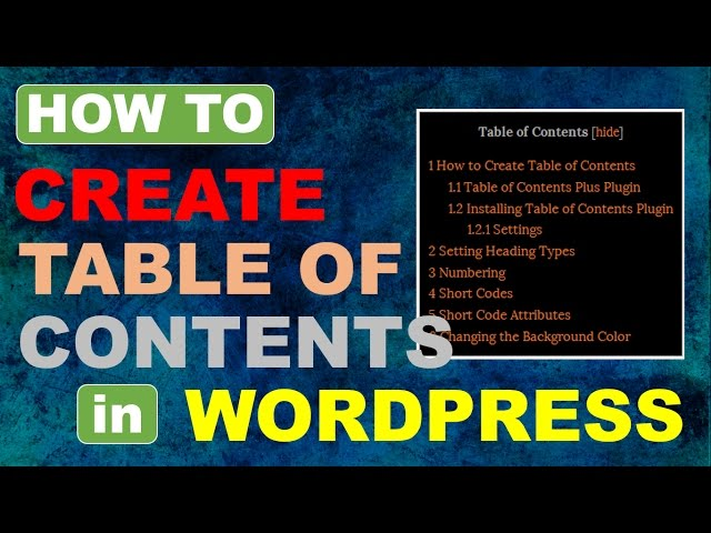 Table of Contents in Wordpress | Table of Contents Plus