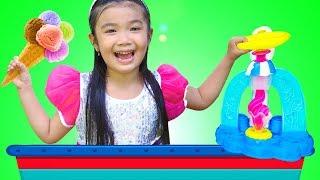 Hana Pretend Play w/ PLAY DOH Ice Cream Toy Shop