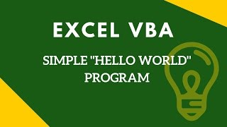 Excel vba tutorial for beginners - Simple