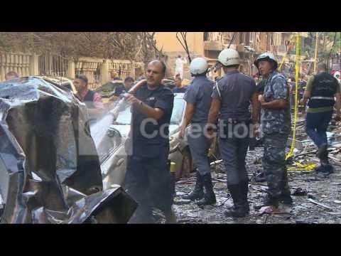 LEBANON CAR BOMB BLAST - CHARRED CAR AFTERMATH
