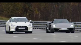 [4k] Porsche 918 Spyder vs Alpha  12+ Nissan GTR R35 TWO races on Highspeed Oval