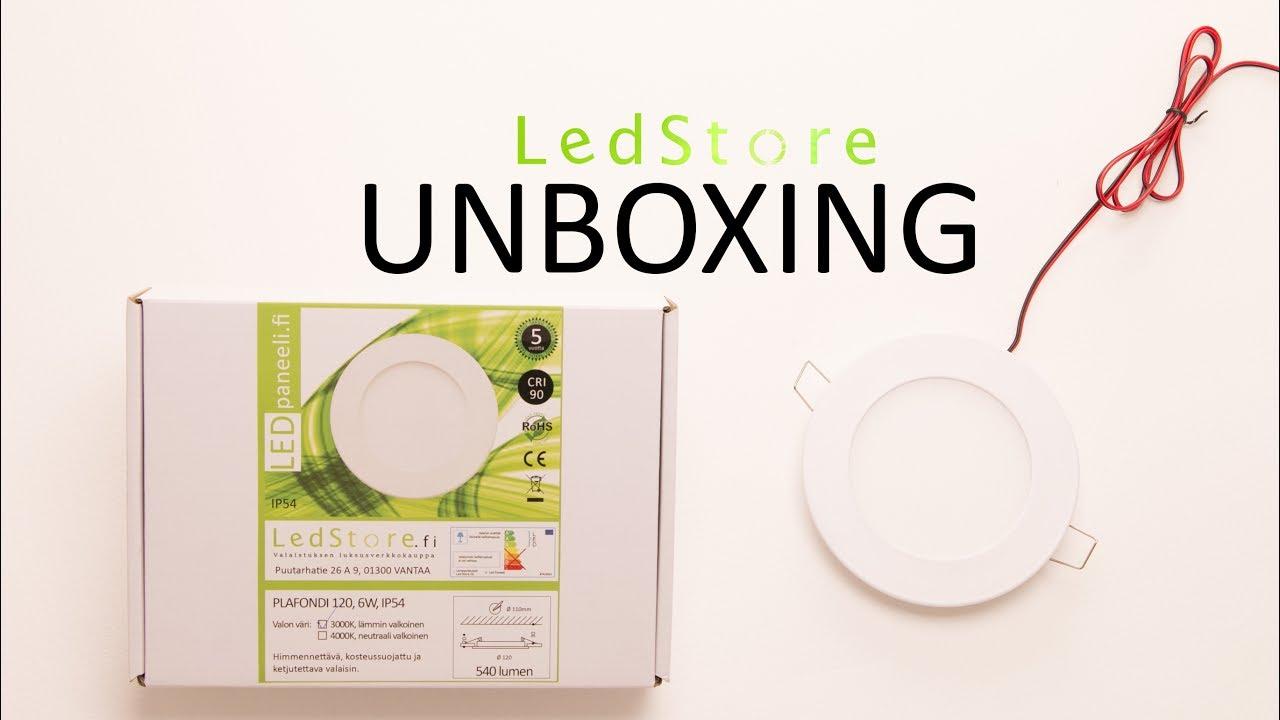 LED paneelivalaisin, PLAFONDI 120, 6W, IP44, himmennettävä Unboxing  LedStore fi