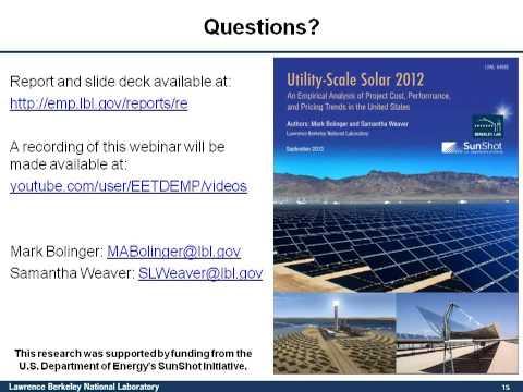 Utility-Scale Solar 2012 Webinar