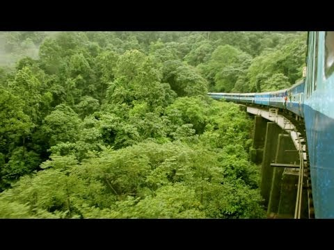 Sakaleshpur to Subramanya train journey along western ghats with monsoon rains through the tunnels