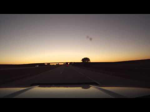 Driving Into The Nebraska Sunset On Interstate 80