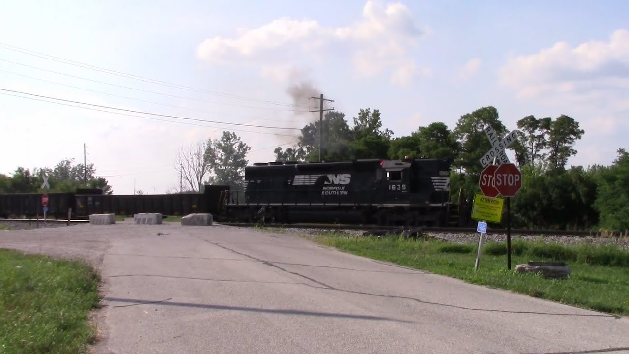 One Train Follows the Other! - NS 1635 (SD40-2 High Hood!) & NS 7034 Newcastle Road in Lafayette, IN