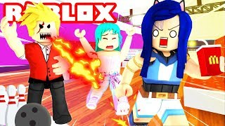 EVIL BOSS LOCKS US IN! WE MUST ESCAPE THE BOWLING ALLEY IN ROBLOX!