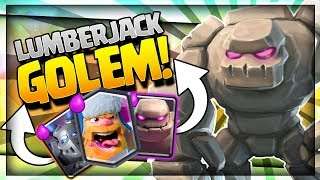 AMAZING GOLEM LUMBERJACK DECK is OP!! Arena 9 to 11 - Clash Royale Strategy
