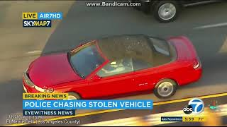 Los Angeles Police Chase  - Reckless Driver Stolen Car Pursuit