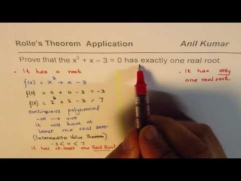 Rolle's Theorem to Prove Exactly one root for Cubic Function AP Calculus