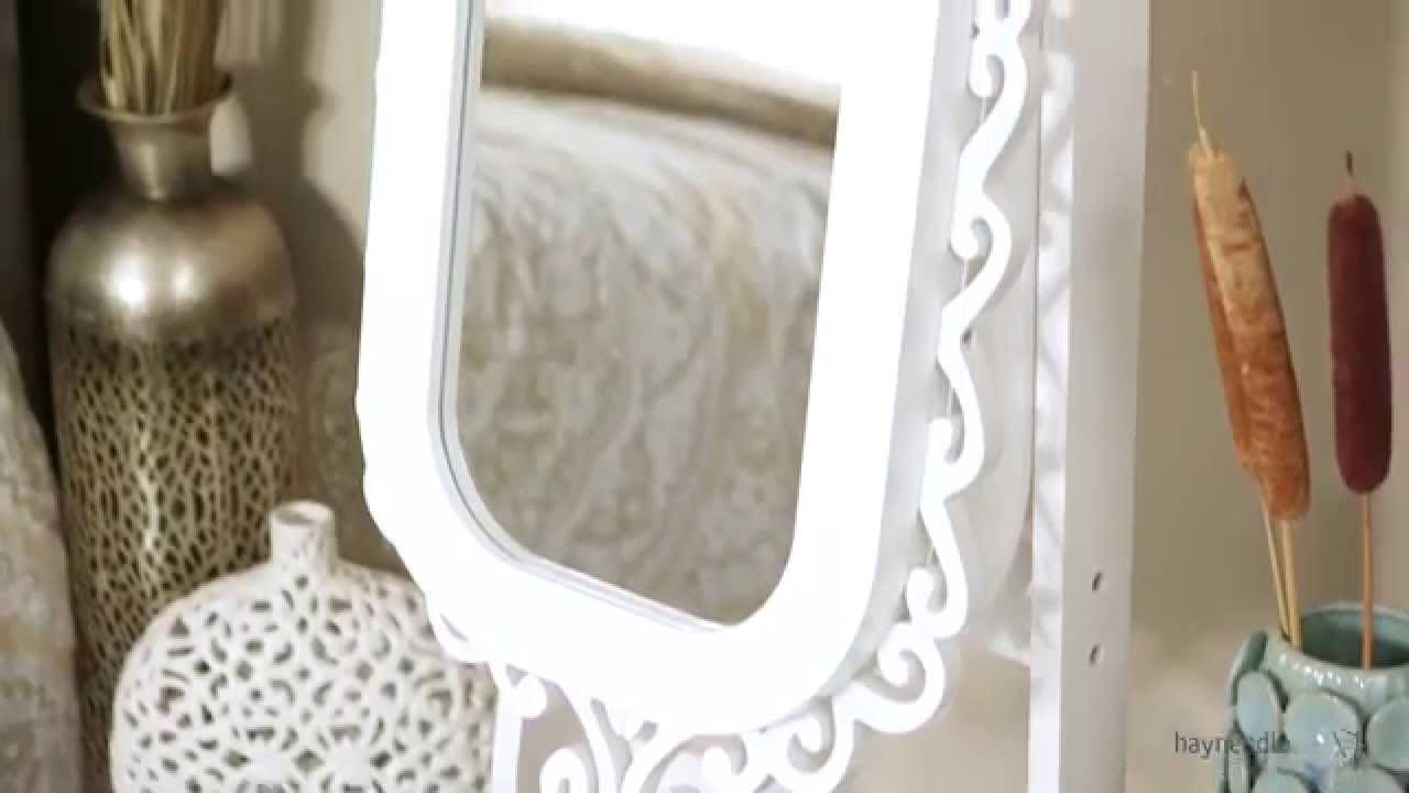 Belham Living Scroll Cheval Mirror Locking Jewelry Armoire High