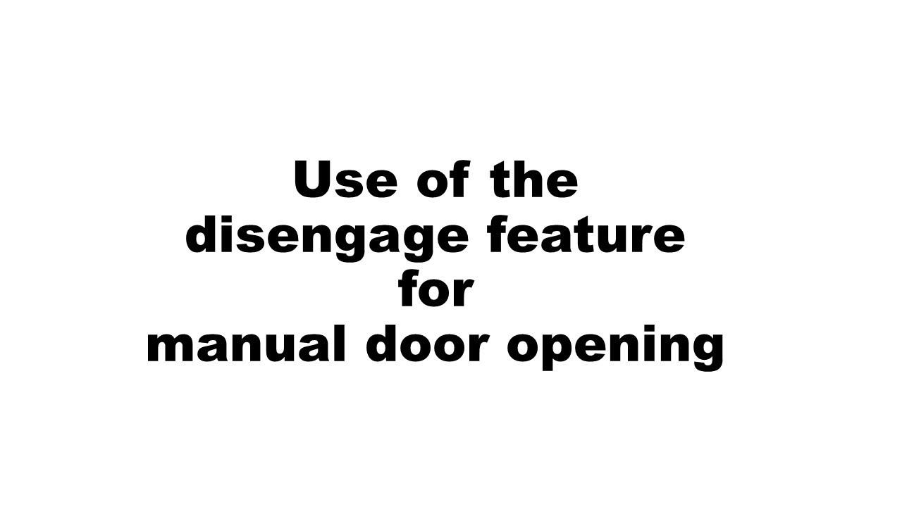Manual release for manual opening of garage door (no power