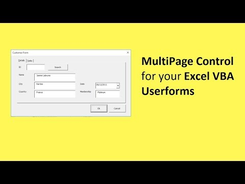 Excel VBA: Using the MultiPage Control in your Userforms