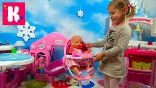 Стульчик для кормления Беби бон распаковка играем куклой кормим куклу Baby Born babies chair