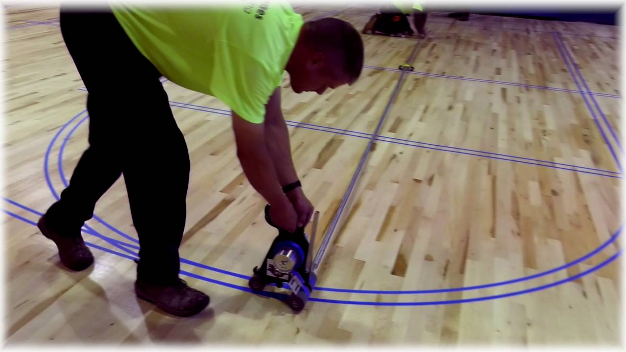 Gym Line Tape Machine City Floor Supply Youtube
