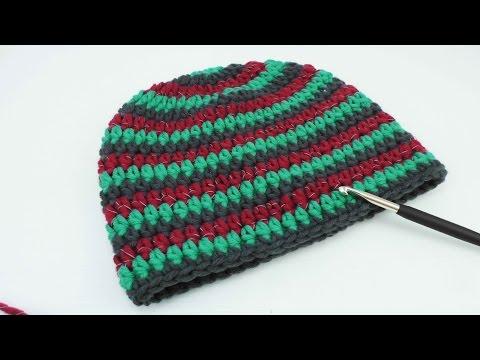 Mütze häkeln    3-farbig Myboshi Style   reflektierende Wolle   Unsichtbarer Übergang   51 – 55 cm